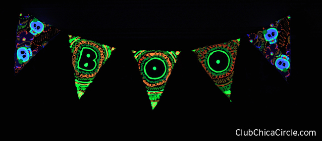 Halloween glow in the dark banner with blue light effect