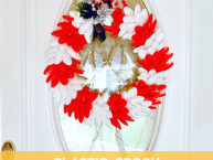 Homemade Holiday Wreath Craft with Foam Circle and Plastic Spoons