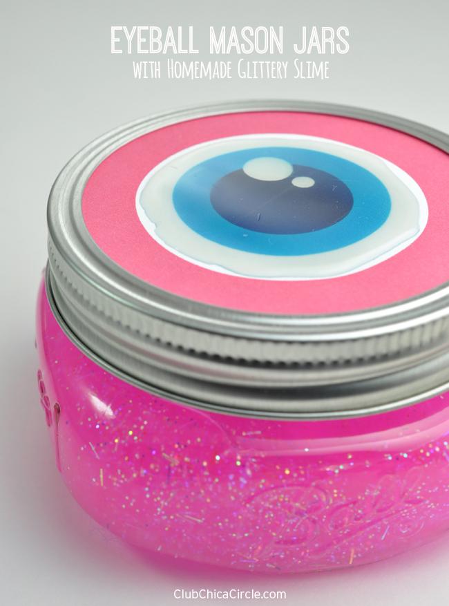 Homemade Slime in Eyeball Decorated Mason Jars