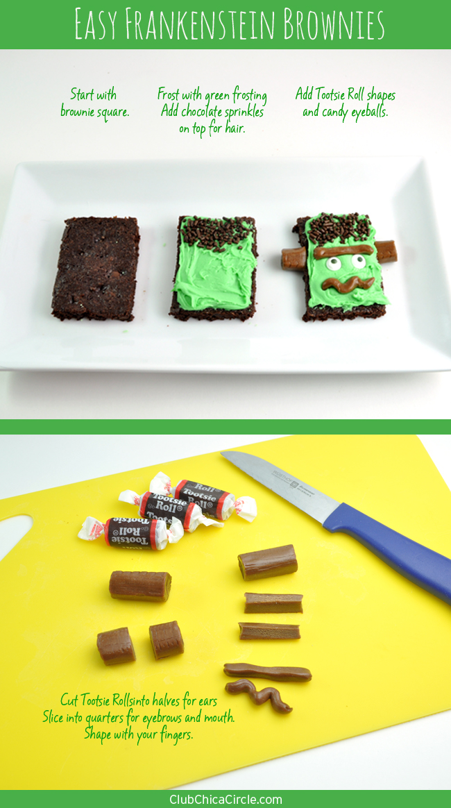 How to Make Frankenstein brownies