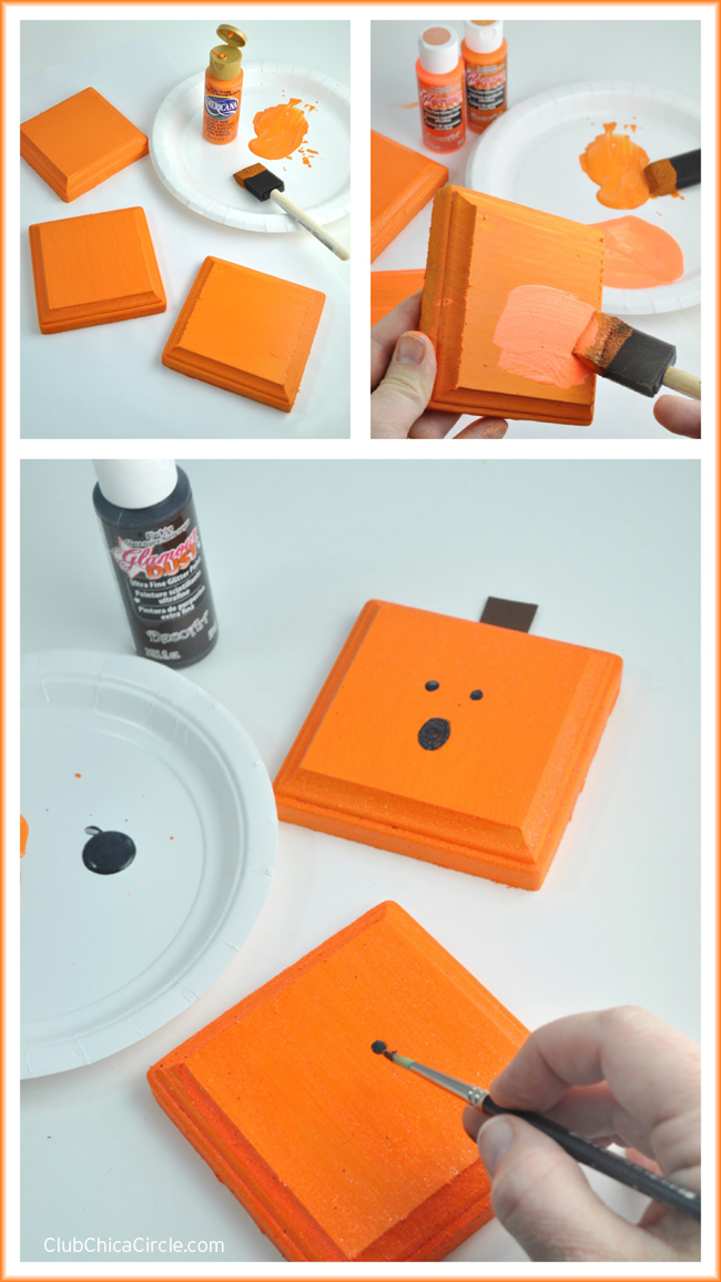 Square Pumpkin Wood Plaques easy Halloween Craft idea