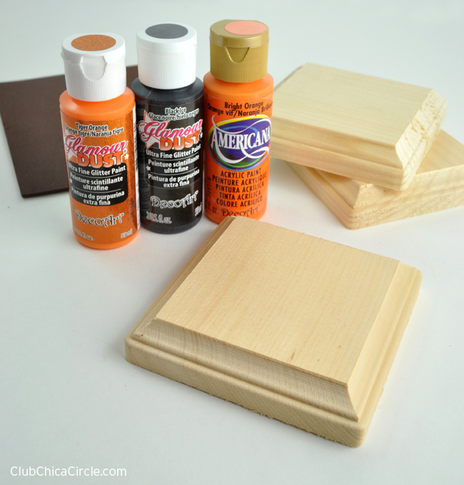 Square wood pumpkin craft supplies