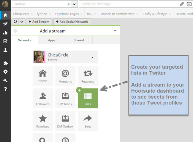 Promote your tribe- Add list streams in Hootsuite