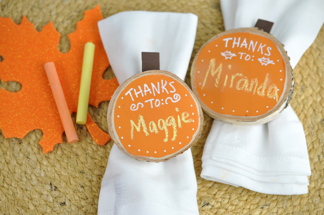 Chalky Finish Pumpkin Napkin rings for Thanksgiving