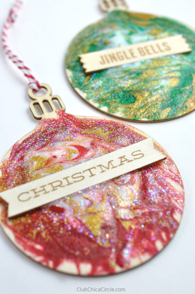 Easy glittery toothpick painted holiday ornaments for Michaels crafts christmas ornaments