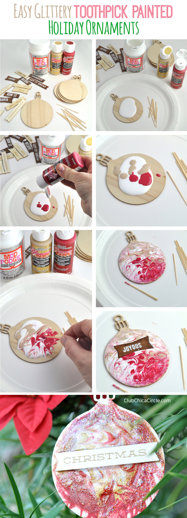 Easy Glittery Toothpick Painted Holiday Ornaments DIY