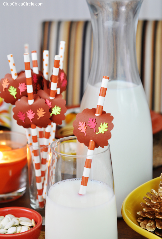 Fall Leaf Party Straws Easy Craft Idea