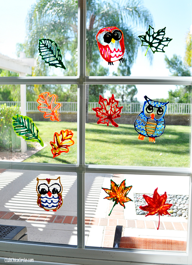 Fall leaf and owl puffy paint window decorations for Glass decorations for windows