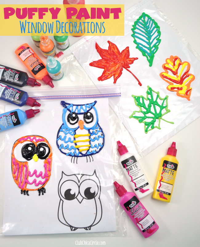 Fall Leaf and Owl Puffy Paint Window Decorations