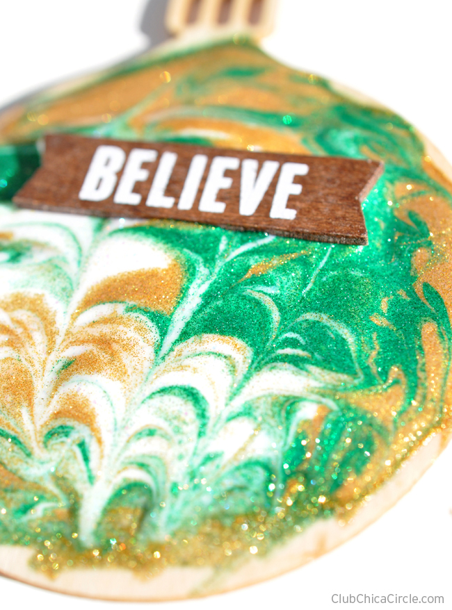 Glitter Mod Podge and Painted Wood Ornaments craft for kids