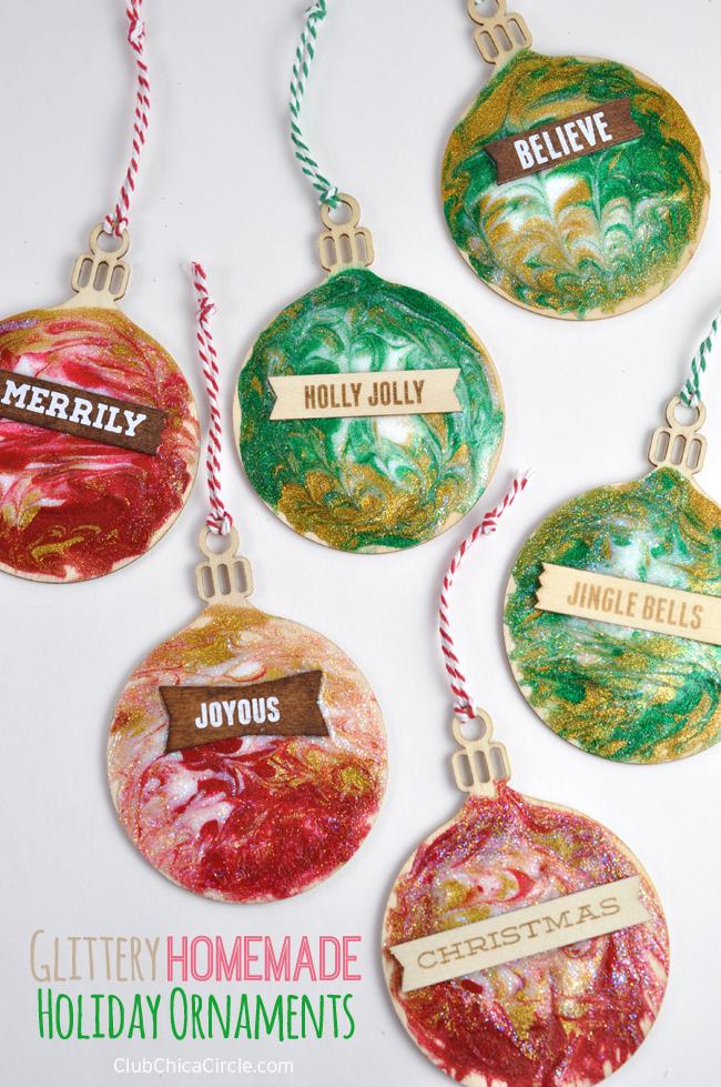 Glittery Homemade Holiday Ornaments Craft