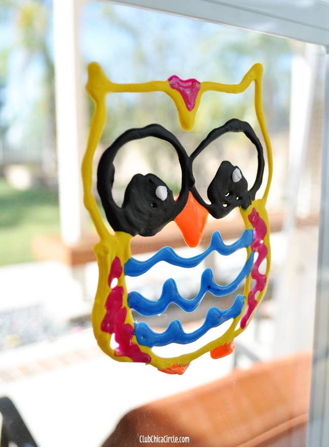 Homemade Owl Puffy Paint Window Clings