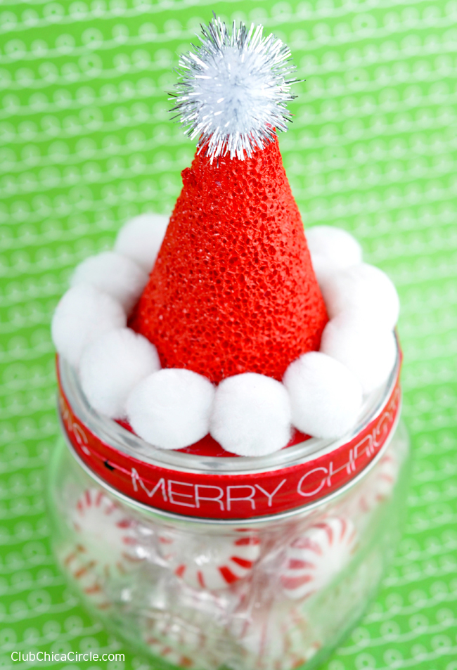 Homemade Santa Hat Mason Candy Jar Gift