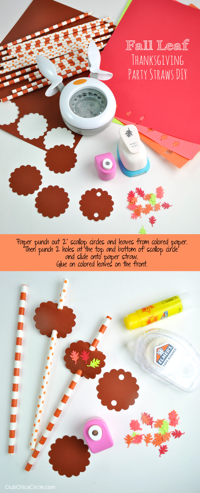 How to Make Fall Leaf Paper Party Straws for Thanksgiving