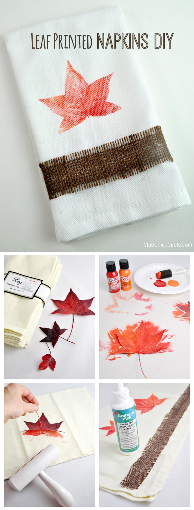 Leaf Printed Napkins DIY and Craft Idea