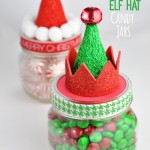 Santa and Elf Hat Candy Jars Homemade Holiday Gift Idea