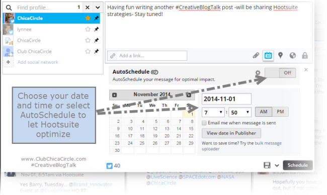 Hootsuite Tweet Scheduling Strategies - #CreativeBlogTalk