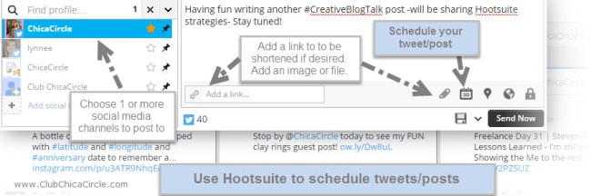 #CreativeBlogTalk Hootsuite Scheduling Tips