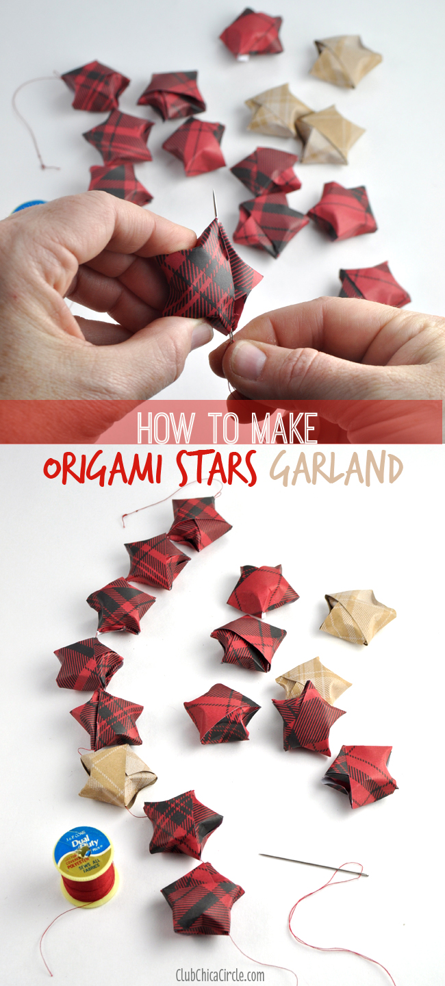 How to string origami stars together to make a pretty homemade holiday garland