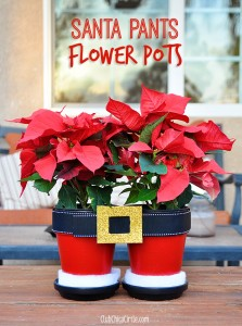 Santa Pants Flower Pots Tutorial