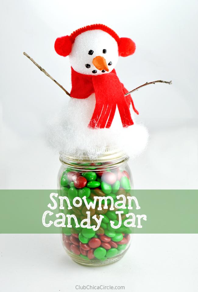Adorable Snowman Candy Mason Jar Craft tutorial - #CraftyisContagious