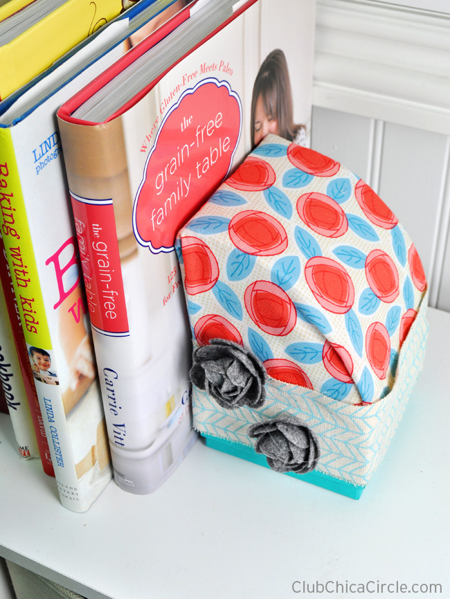 Fabric wrapped homemade bookends using foam cake form #makeitfuncrafts