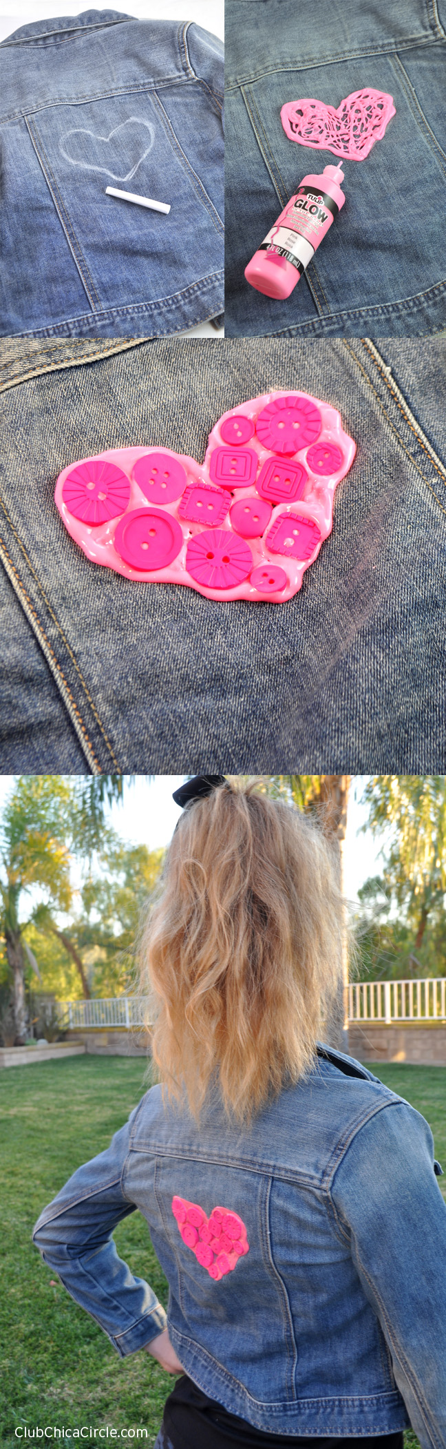 Upcycled Denim Jacket with Buttons and Puffy Paint