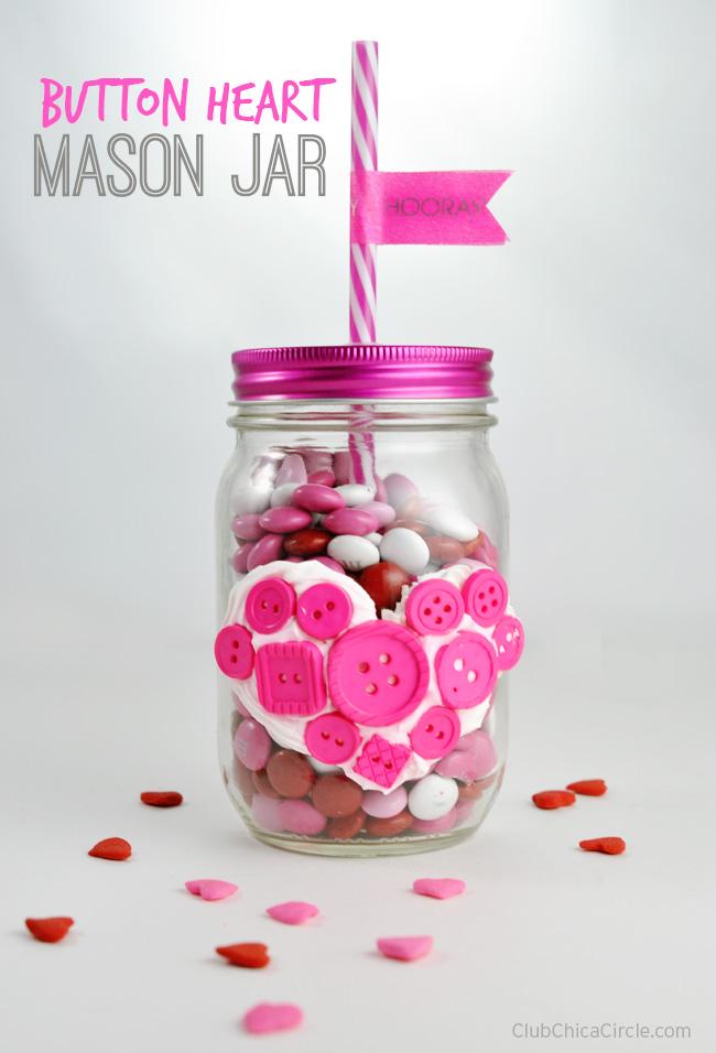 Button Heart Mason Jar Valentine Homemade Gift Idea