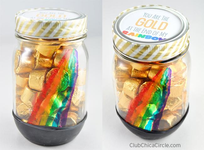 Pot of Gold Rainbow Painted Mason Jar Craft Ideas