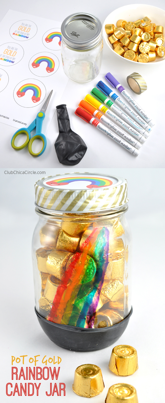 Rainbow Mason Jar St. Patrick's Day Homemade Gift Craft Idea