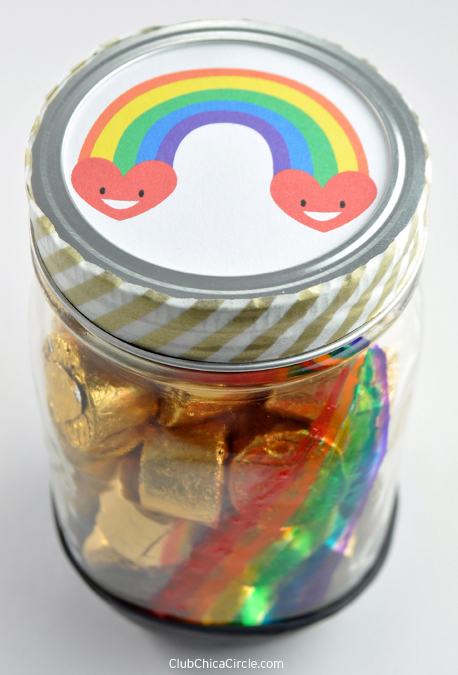 Rainbow Mason Jar for St. Patrick's Day