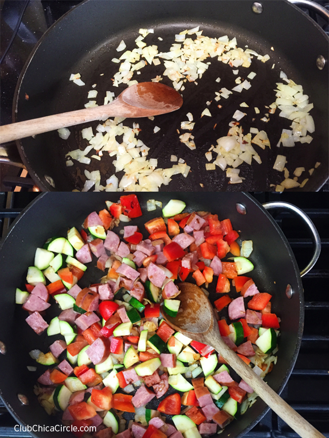 Saute the vegetables and meat for egg cups