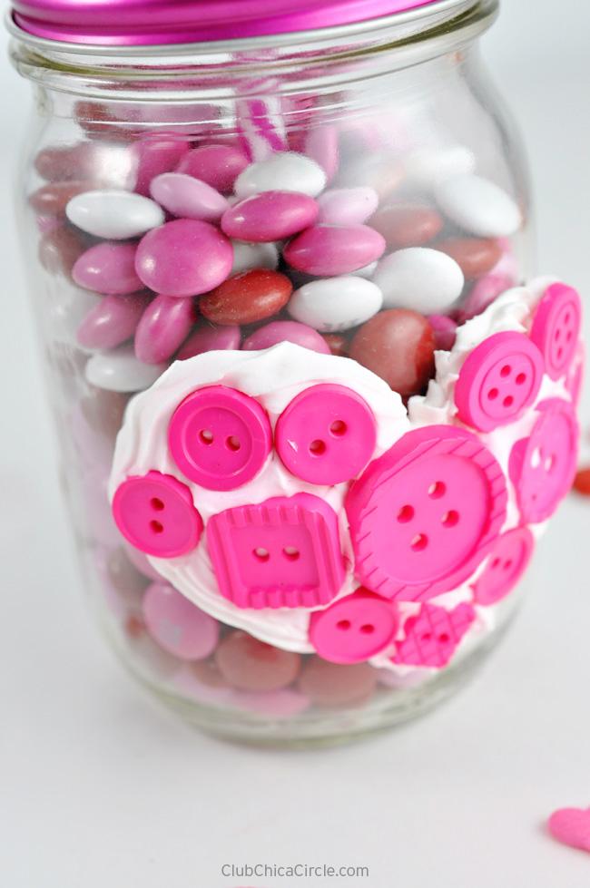 Valentine Mason Jar with Button Heart