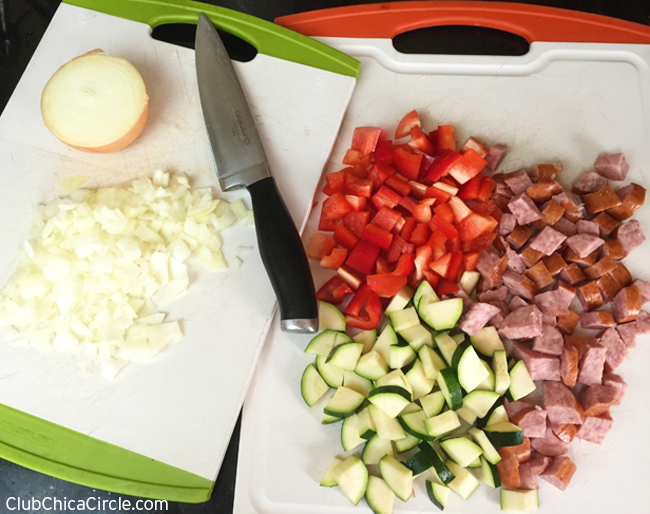 chopped veggies for egg cups