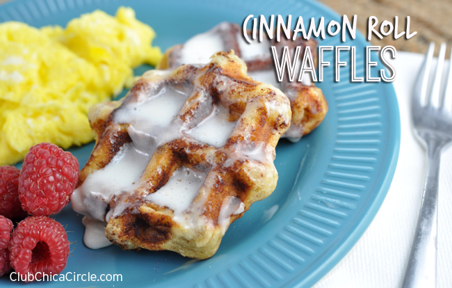 Easy 3-minute cinnamon roll waffles