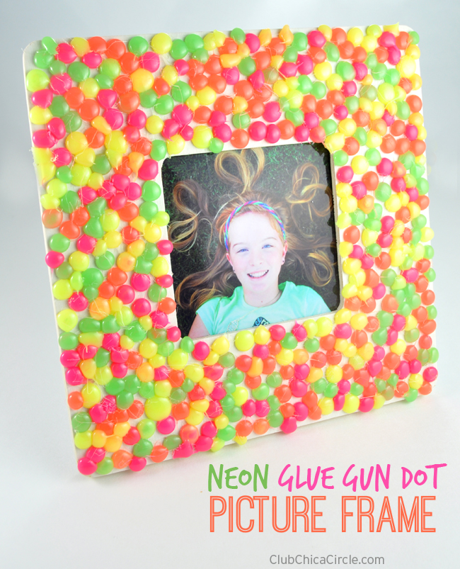 Neon Glue Gun Dot Picture Frame Craft Idea for Kids