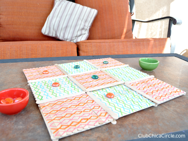 Outdoor homemade tic tac toe game board for kids