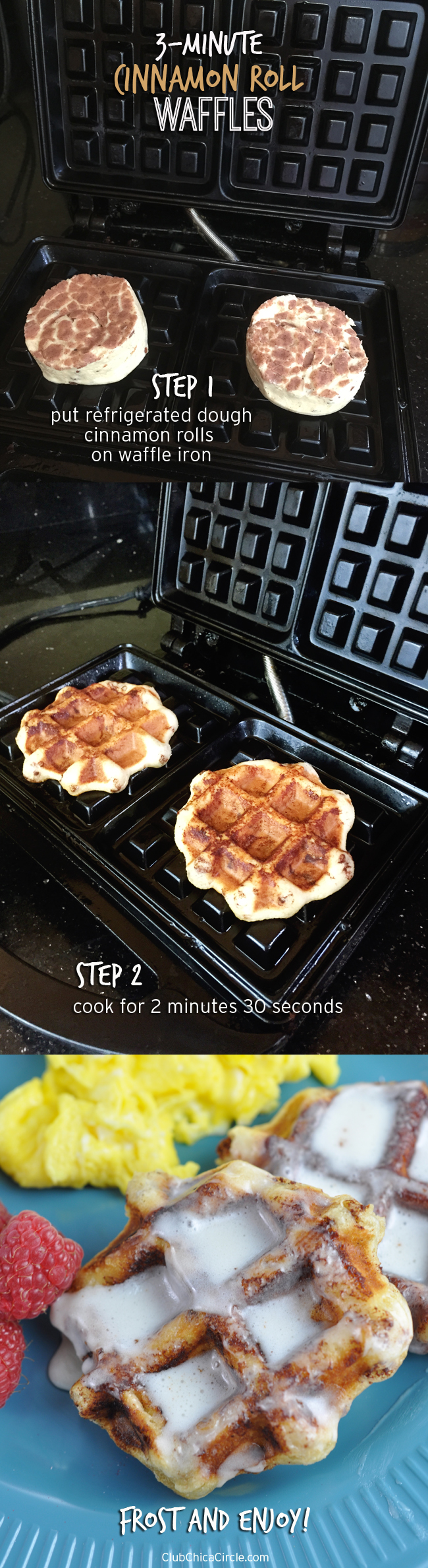 The easiest cinnamon roll waffle recipe ever