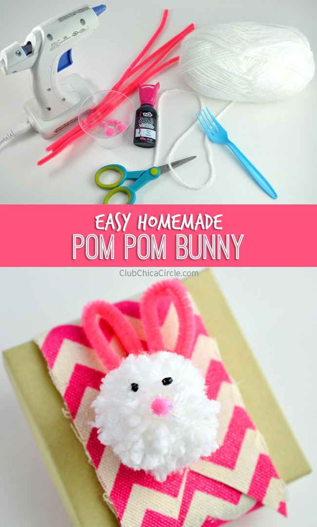 homemade pom pom bunny Easter decoration DIY