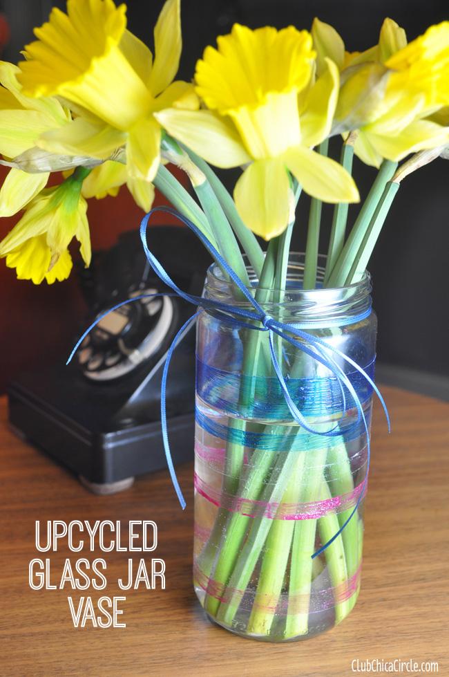 Upcycled-Glitter-Glass-Painted-Jar-Vase-DIY
