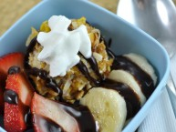 Fried Ice Cream Banana Split dessert recipe with chocolate sauce