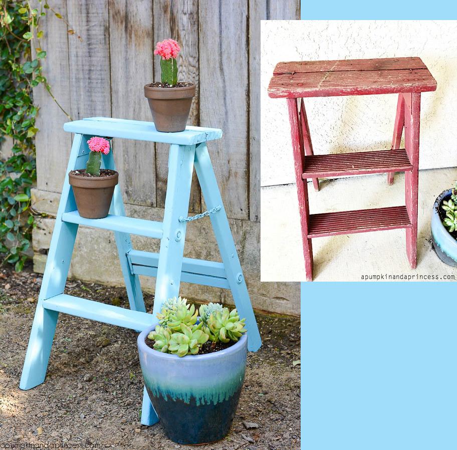 Vintage-Step-Ladder-Makeover #decoartprojects