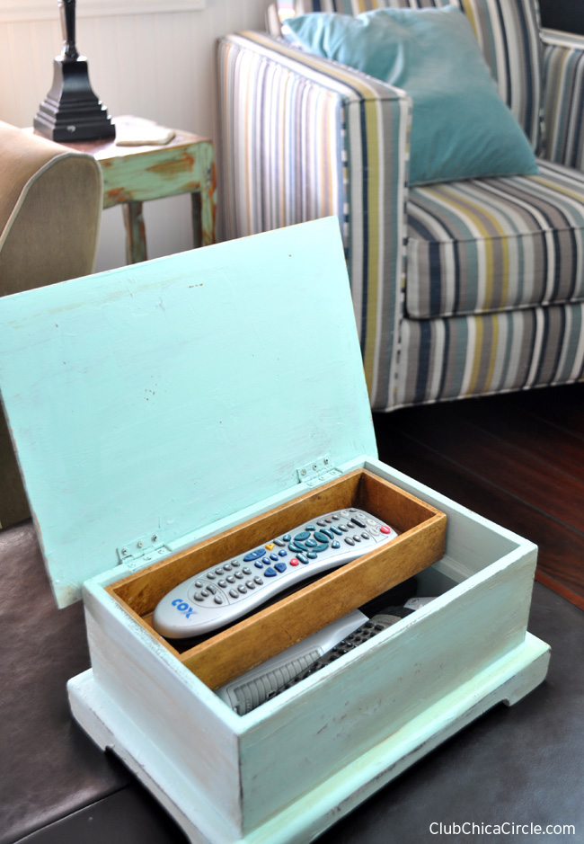 jewelry box upcycled into a remote box craft project