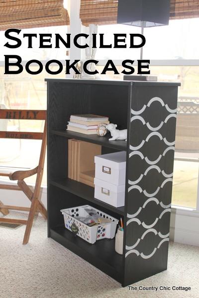 stenciled bookcase