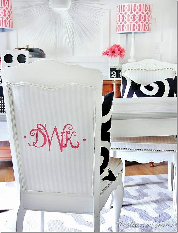 Monogram desk chair & DecoArt Blog - Crafts - Monograms for Your Home