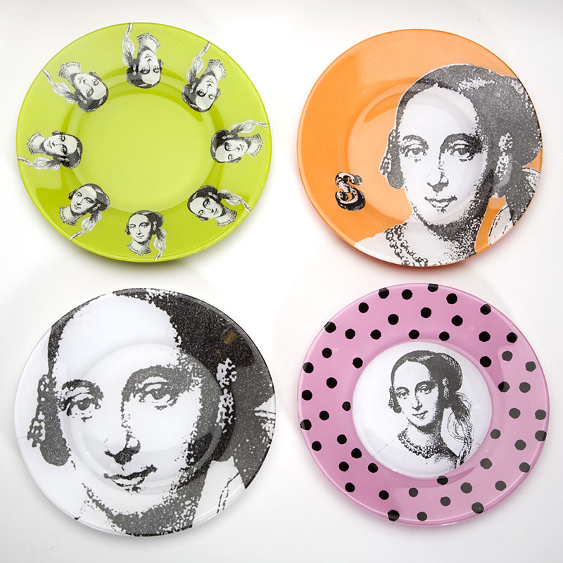 Decoupaged plates