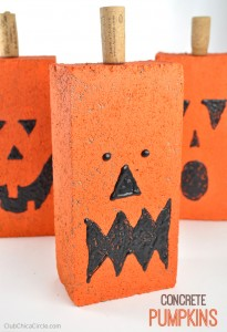 Easy Concrete Pumpkins Fall Craft Idea