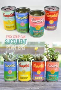 Easy Soup Can Succulent Planters
