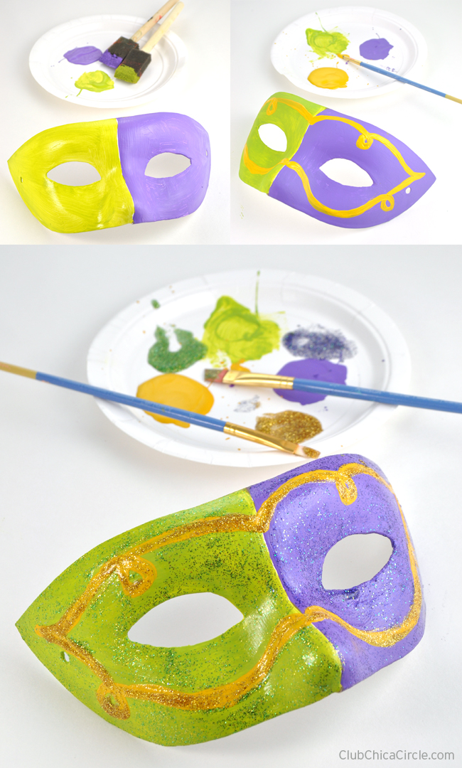 Glitter painted masquerade mask craft idea