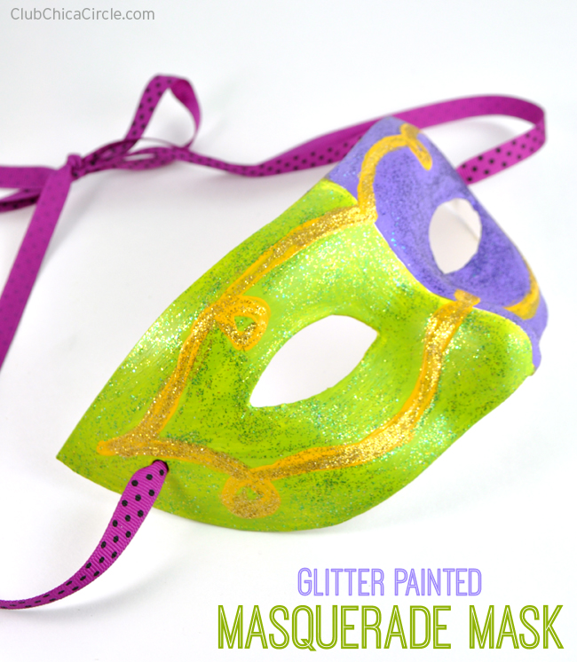 Glitter painted masquerade mask halloween craft idea